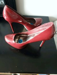 pair of red patent leather platform stilettos Toronto, M9P