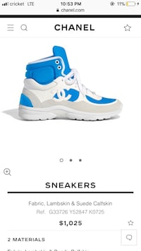 White and blue Chanel sneakers come with a box and certificate  Norcross, 30093