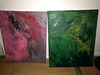 two green and red abstract paintings Ottawa