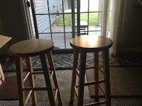 two brown wooden bar stools Webster, 14580