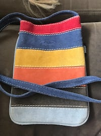 blue, yellow, and red striped crossbody bag Saint Albans, 05478