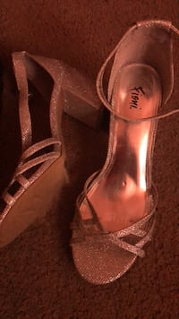 pair of brown leather open-toe heeled sandals Jacksonville, 32244