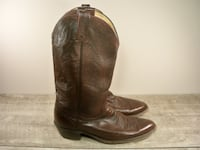 Vintage Dan Post Maroon Leather Cowboy Men's Western Ranch Boots 11 Maple Grove