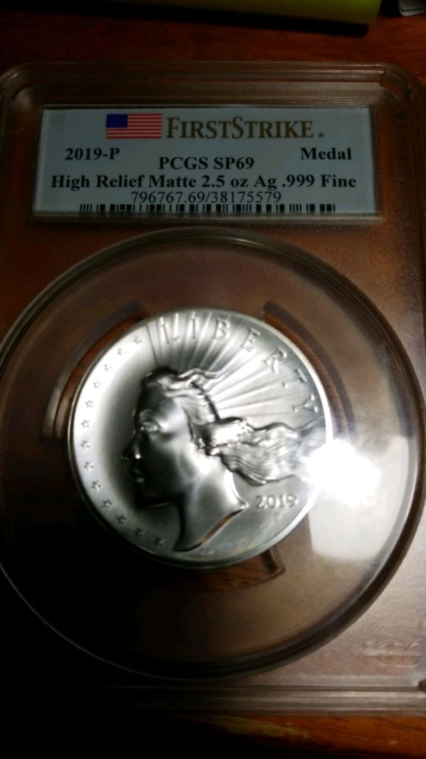 2019-P American Liberty High Relief Silver Matte Medal SP69 First Stri 1def998d-025d-4ae3-b6c6-c2981f4db75f