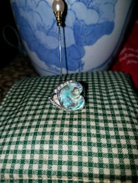 Abalone shell 925 sterling silver & Cz's ring  355 mi
