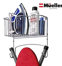 Mueller Ironing Board Hanger Wall Mount with Large Storage Basket.