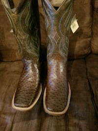 Brown leather ostrich print boots.
