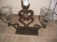 very old glass Iron candle holder Thornton