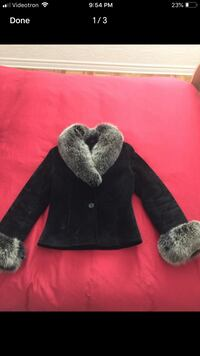 Women's fitted winter leather jacket with fox fur  795 km
