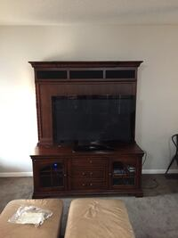 brown wooden media unit, walnut, gliding shelves, tv NOT included
