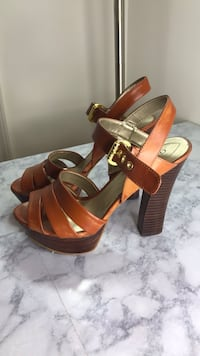pair of brown leather open-toe heeled sandals Rockville, 20850