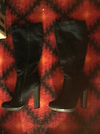 Women's black high heel boots