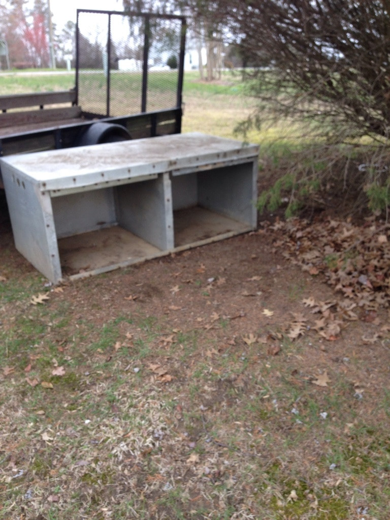 Photo Aluminum dog box for sale (Missing doors) used very little