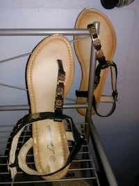 brown-and-black leather sandals Lutz, 33549
