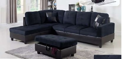 Midnight blue microfiber sectional with ottoman and pillows