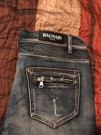 100% authentic Balmain distressed denim jeans sz 34 straight leg Washington, 20037
