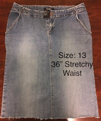 "Women's Rampage Long Jean Denim Super Stretchy Skirt 13 / 36"" Waist"