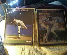 two baseball trading cards