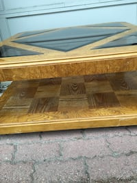 Oak/glass coffee table - very solid, good condition