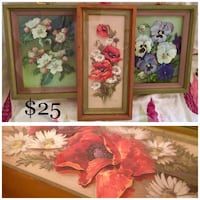 Vintage 3 Piece Floral 3-D Cut Framed Prints