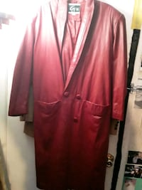 Red leather trench coat, real leather