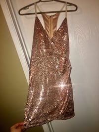 Brand New size small/ Tags Attached- Ladies size Small - one of a kind STUNNING Champagne colored sparkly sequin dress with stunning back Edmonton, T5A