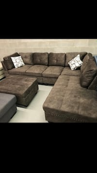 Brown fabric sectional sofa with storage ottoman Caledon, L7E