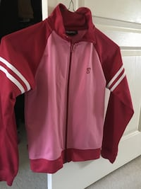 Pink athletic zip up jacket - kids large or adult XS to S