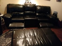 black leather 3-seat recliner sofa WASHINGTON