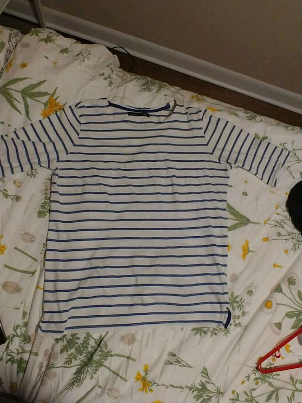 Navy and white striped shirt (size large)