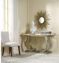 2 mirrored console tables