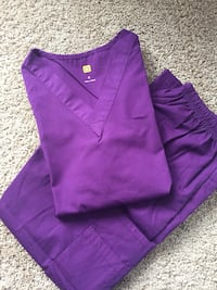 Purple scrub shirt and pants. Brand New. Lowered price from $30. Edmonton, T6W 3H7