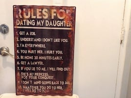 Rustic metal sign.