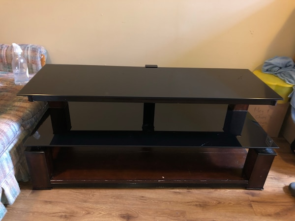 Black glass and cherry wood tv stand