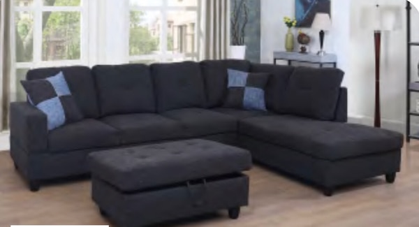 Terrific Black Grey Sectional Sofa With Ottoman Ncnpc Chair Design For Home Ncnpcorg