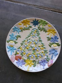 white, blue, and green floral ceramic plate Las Vegas, 89110