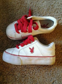 pair of white-and-red playboy shoes Albuquerque, 87109