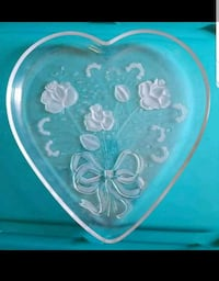 New Heart Shaped Glass Platter with Rose Etchings  Norwalk, 06851