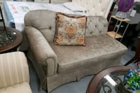 gray and brown floral fabric sofa chair Toronto, M9W 1P6