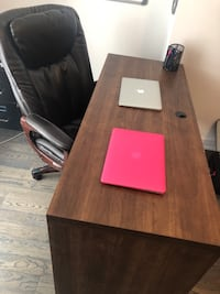 Office Desk, Executive Wood Brown Finish, Ample Leg Room