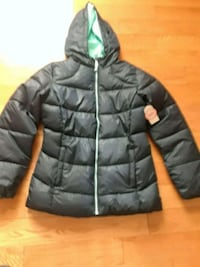black zip-up bubble jacket size10/12