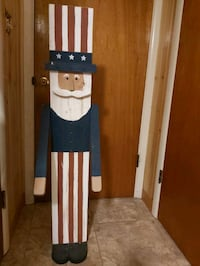 """4'2"""" Vintage Wooden Uncle Sam with Movable Arms"""