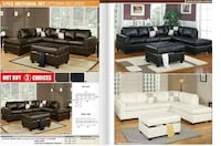 Sectional Bonded Leather/Espresso Reversible Miami