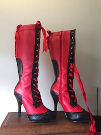 Bordello side-zip red and black boots size 9