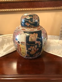 black and beige toile ginger jar Laval, H7X