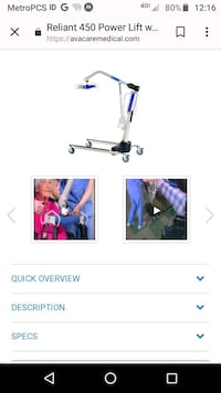 invacare reliant 450 batery powered lift Milpitas, 95035