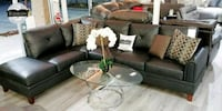 Free DELIVERY black GENUINE LEATHER SECTIONAL SOFA 751 mi