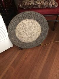 "Large 20"" decorative plate and stand. Olive green. Gwynn Oak, 21207"