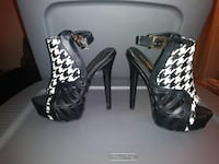 black and white houndstooth heels