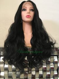 26 inch long wavy layered black wig lace front Swiss lace heat resistant low medium heat premium quality synthetic high temperature fiber breathable adjustable cap with straps and combs  Las Vegas, 89144